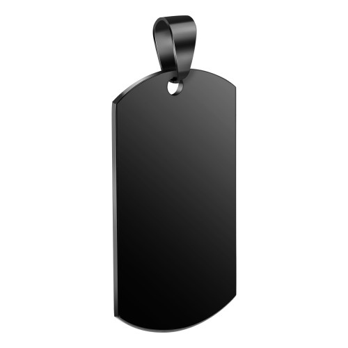 Men's Black IP Plated Stainless Steel Personalized Dog Tag Pendant