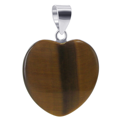 20mm Heart Tiger Eye Sterling Silver Pendant