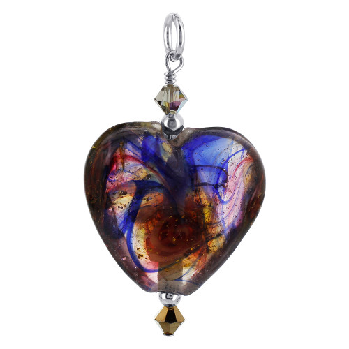 Heart Lampwork Foil Glass with Swarovski Elements Crystal Sterling Silver Charm Pendant
