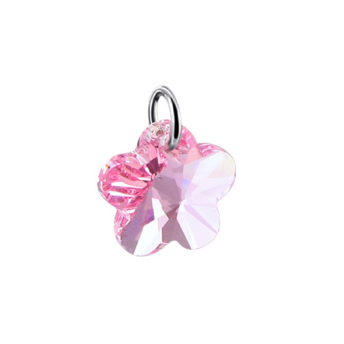 Flower Shape Crystal 925 Silver Charm Pendant