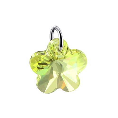 Flower Shape Yellow Swarovski Elements Crystal Multifaceted Sterling Silver Charm Pendant