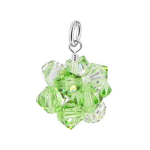925 Silver Swarovski Green and Clear AB Bicone Shaped Crystal Pendant