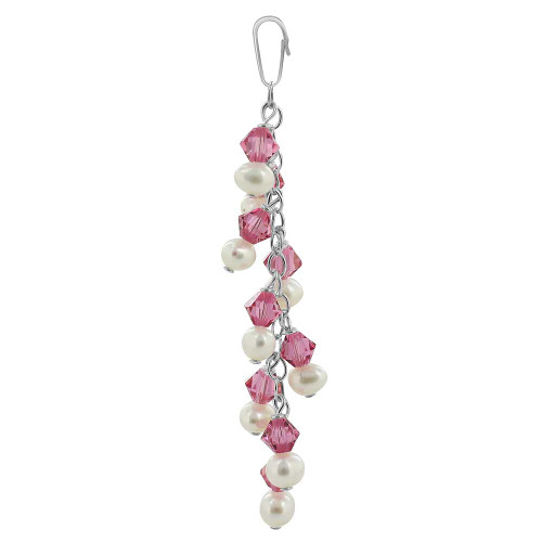 Round White Freshwater Pearls with Rose Bicone 925 Sterling Silver Pendant