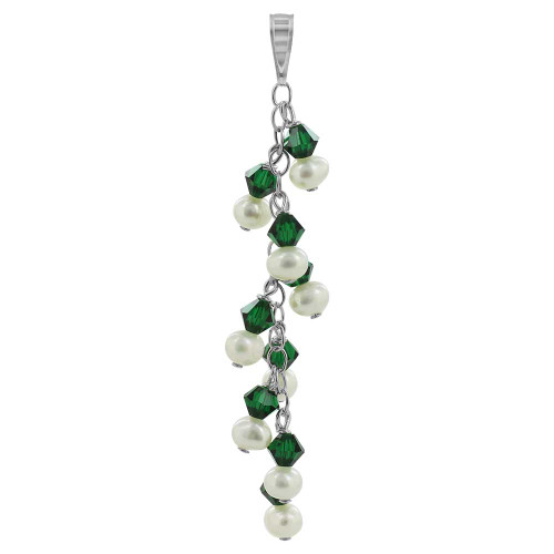 Round White Freshwater Pearls with Green Bicone 925 Sterling Silver Pendant