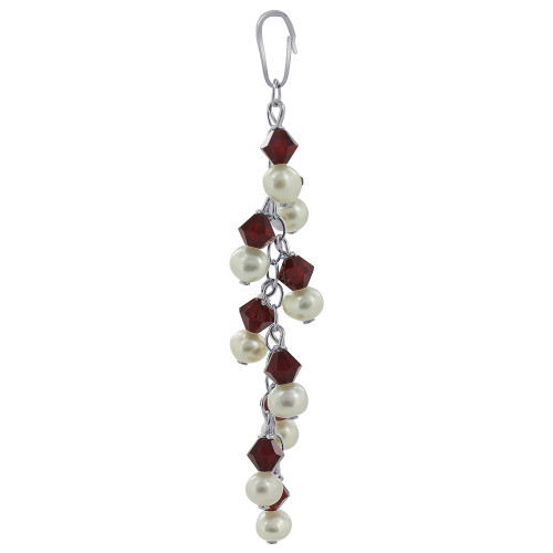 Round White Freshwater Pearls with Red Bicone 925 Sterling Silver Pendant