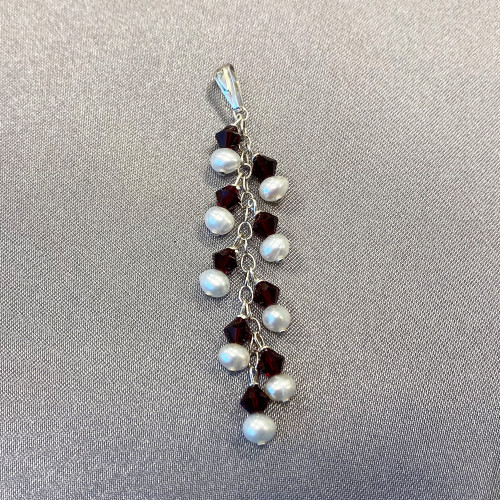 White Freshwater Pearls with Red Bicone Sterling Silver Pendant