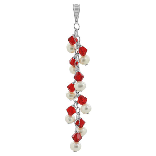 Round White Freshwater Pearls with Light Siam Bicone 925 Sterling Silver Pendant
