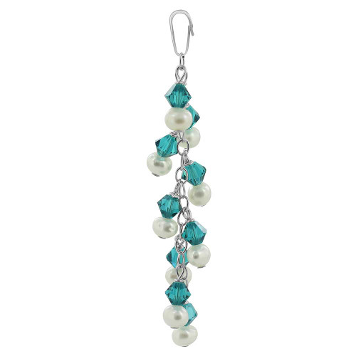 Round White Freshwater Pearls with Blue Bicone 925 Sterling Silver Pendant