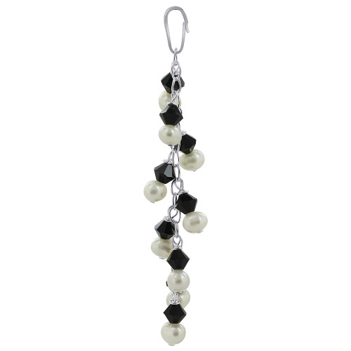 Round White Freshwater Pearls with Black Bicone 925 Sterling Silver Pendant