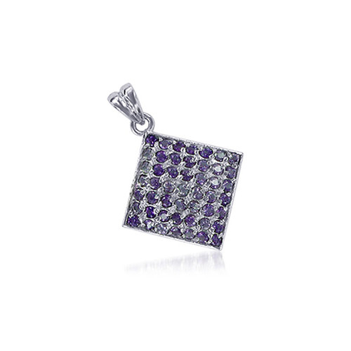 Amethyst Gemstone Square 925 Sterling Silver Pendant