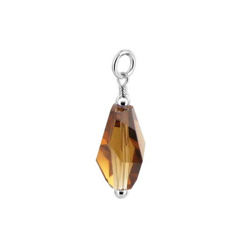 Brown Polygon Shape Swarovski Elements Crystal Sterling Silver Pendant