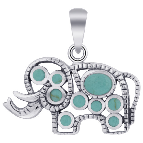 Rhodium Plated Sterling Silver Elephant Bali Design Simulated Turquoise Pendant