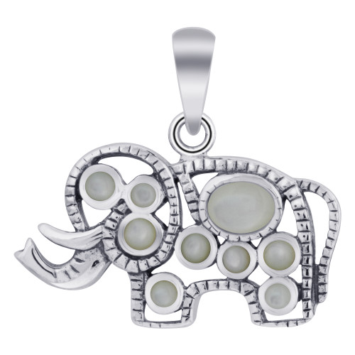 Rhodium Plated Sterling Silver Elephant Bali Design Simulated White Opal Pendant