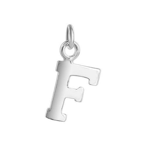 10 x 8mm F Initial Sterling Silver Pendant Charm
