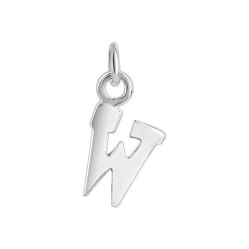 7mm x 9mm W Initial Sterling Silver Pendant Charm