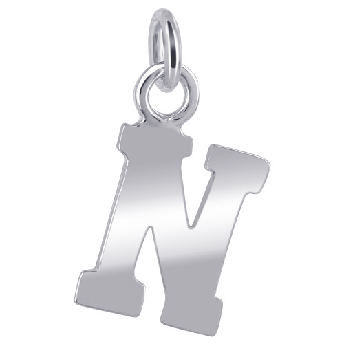 10mm x 8mm N Initial Sterling Silver Pendant Charm