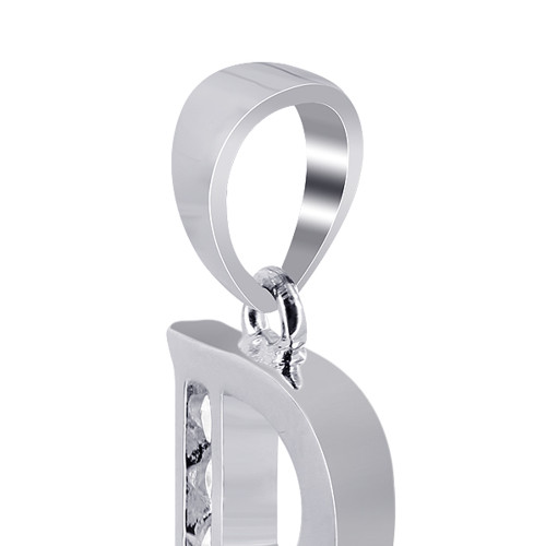 CZ R Initial Sterling Silver Pendant