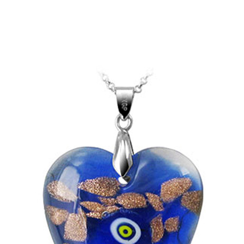 Blue Color Thick Heart Glass Stainless Steel Bail Pendant