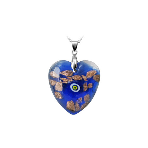 1.3 x 1.2 inch Blue Color Designed 6mm Thick Heart Glass Stainless Steel Bail Pendant