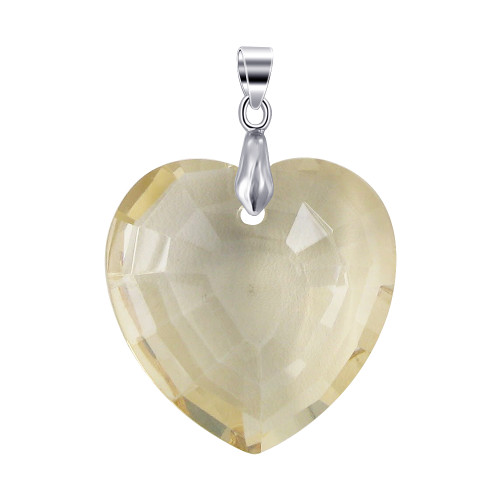 1.2 inch Multifaceted Golden Shadow 11mm Thick Heart Glass Stainless Steel Bail Pendant