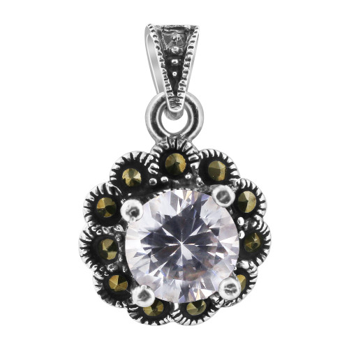 Cubic Zirconia CZ 925 Sterling Silver Pendant with Marcasite Floral Accents