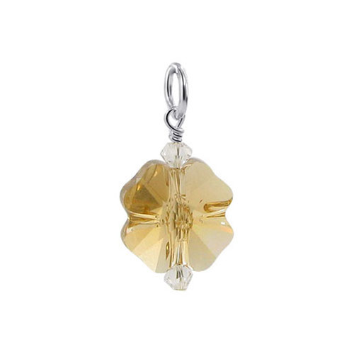 Flower Shape Yellow Swarovski Elements Crystal Sterling Silver Pendant