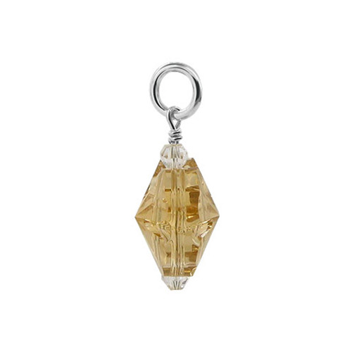 Flower Shape Yellow Crystal 925 Sterling Silver Pendant