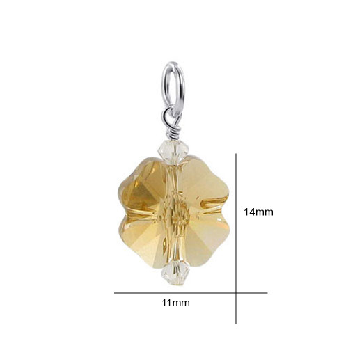 Flower Shape Yellow Crystal 925 Silver Pendant