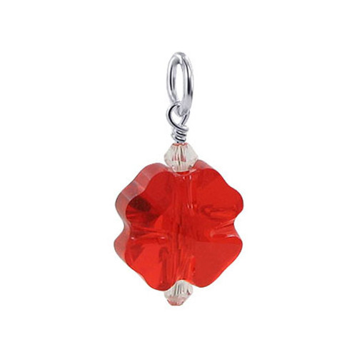 Flower Shape Swarovski Elements Siam Red Crystal Sterling Silver Pendant