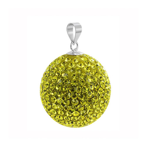 22mm Round Yellow Disco Ball Sterling Silver Pendant