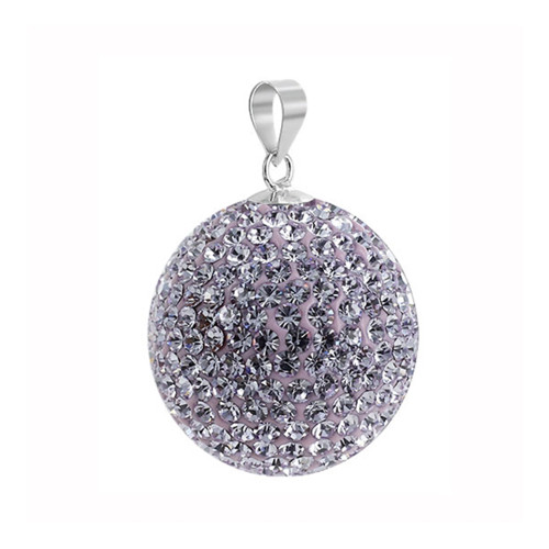 22mm Round Violet Disco Ball Sterling Silver Pendant