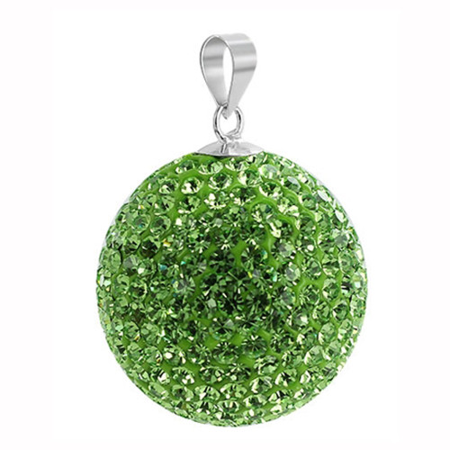 22mm Round Green Disco Ball Sterling Silver Pendant
