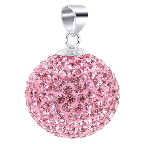 22mm Round Pink Disco Ball Sterling Silver Pendant