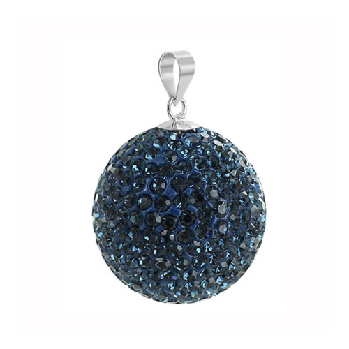 22mm Round Montana Disco Ball Sterling Silver Pendant