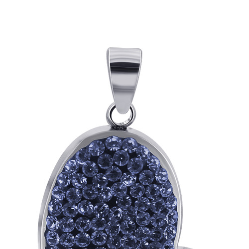 Blue Cubic Zirconia Heart 925 Sterling Silver Pendant