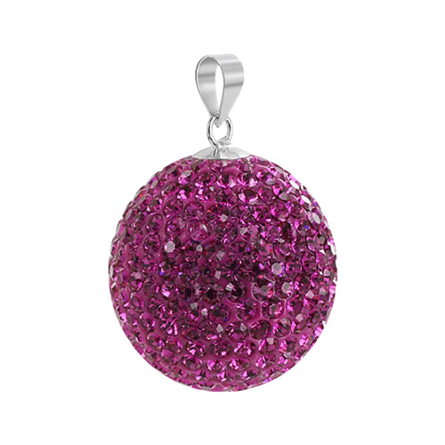 22mm Round Fuchsia Color Disco Ball Sterling Silver Pendant