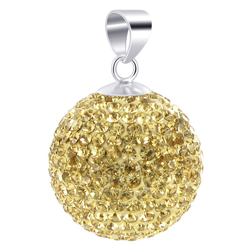 22mm Round Champagne Disco Ball Sterling Silver Pendant