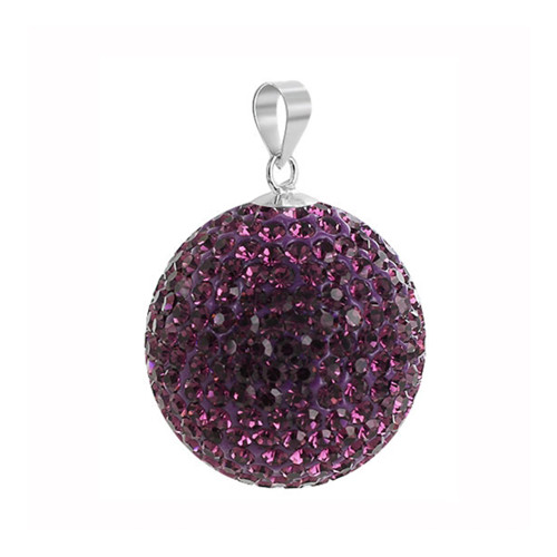 22mm Round Purple Disco Ball Sterling Silver Pendant