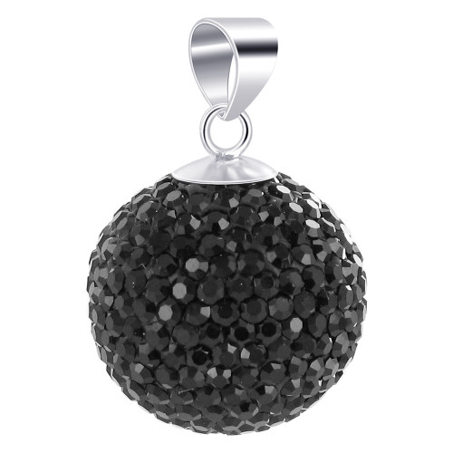 22mm Round Black Disco Ball Sterling Silver Pendant