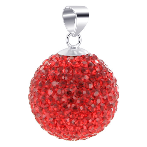 22mm Round Bright Red Disco Ball Sterling Silver Pendant