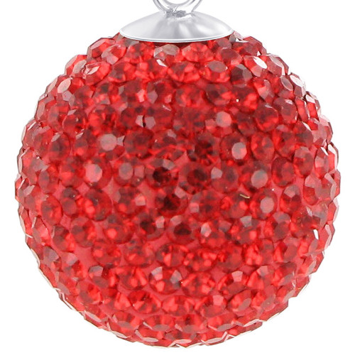 Round Bright Red Disco Ball Sterling Silver Pendant