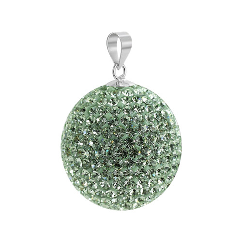 22mm Round Chrysolite Disco Ball Sterling Silver Pendant