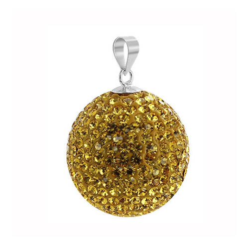 22mm Yellow Disco Ball Round Sterling Silver Pendant