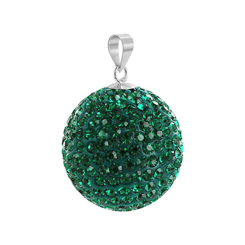 22mm Green Round Emerald  Disco Ball Sterling Silver Pendant