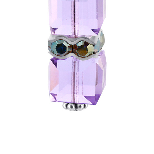 Cube Swarovski Elements Lavender Crystal 925 Silver Charm Pendant