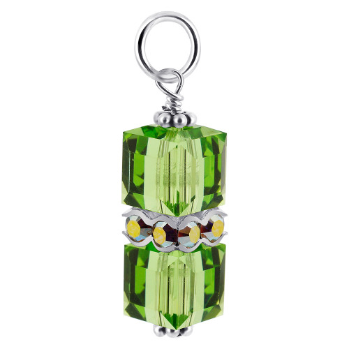 8 x 19mm Cube Swarovski Elements Green Crystal Sterling Silver Charm Pendant
