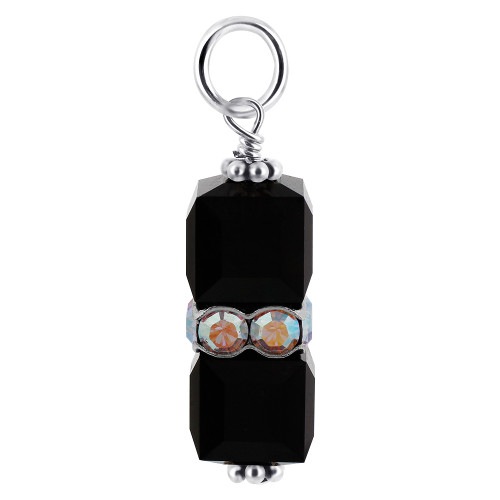 8 x 19mm Cube Swarovski Elements Black Crystal Sterling Silver Charm Pendant