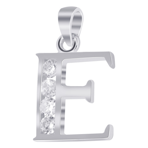 925 Sterling Silver Cubic Zirconia  Initial E Pendant