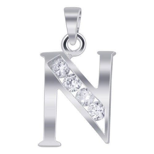 925 Sterling Silver Cubic Zirconia Initial N Pendant