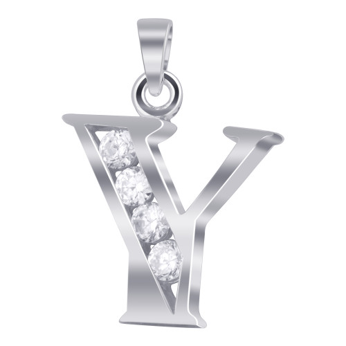 925 Sterling Silver Cubic Zirconia Initial Y Pendant